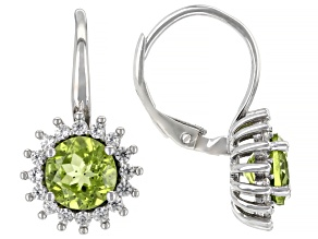 Green Peridot Rhodium Over Sterling Silver Ring 3.25ctw
