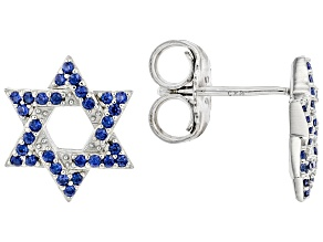 Blue Lab Created Sapphire Rhodium Over Sterling Silver Star Earrings. 0.34ctw