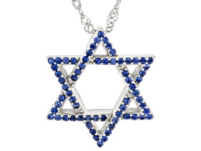 Blue Lab Created Sapphire Rhodium Over Sterling Silver Star of David Pendant With Chain. 0.36ctw