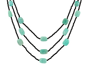 Green Amazonite Rhodium Over Silver 3 Strand Beaded Necklace.