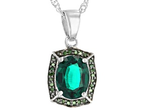 Green Lab Emerald Rhodium Over Sterling Silver Pendant With Chain 1.46ctw