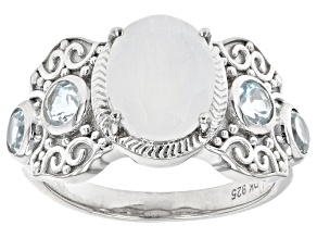 White Rainbow Moonstone Rhodium Over Sterling Silver Ring 0.71ctw