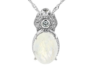 White Rainbow Moonstone Rhodium Sterling Over Sterling Silver Pendant With Chain 0.14ctw