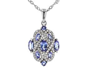 Blue Tanzanite Rhodium Over Silver Pendant With Chain 1.35ctw