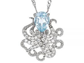 Sky Blue Topaz Rhodium Over Silver Octopus Pendant Chain 1.53ctw