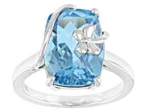 Sky Blue Topaz Rhodium Over Sterling Silver Ring 6.50ct