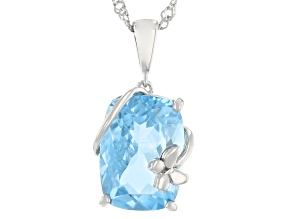 Sky Blue Topaz Rhodium Over Sterling Silver Pendant With Chain 6.50ct