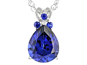 Blue Lab Created Sapphire Rhodium Over Sterling Silver Pendant With Chain 3.09ctw