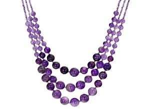 Purple Amethyst Beaded Rhodium Over Sterling Silver Necklace
