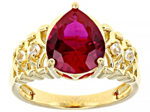Red Lab Created Ruby 18k yellow Gold Over Sterling Silver Ring 3.10ctw