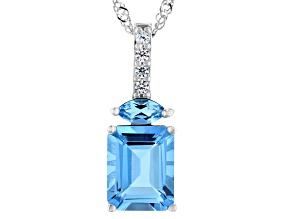 Swiss Blue Topaz Rhodium Over Sterling Silver Pendant With Chain 3.40ctw
