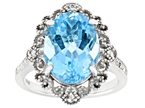 Sky Blue Topaz Rhodium Over Sterling Silver Ring 6.48ctw