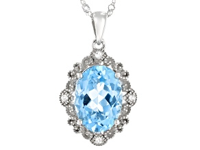 Sky Blue Topaz Rhodium over Sterling Silver Pendant With Chain. 6.17ctw