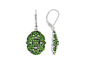 Green Chrome Diopside Rhodium Over Sterling Silver Earrings. 5.05ctw