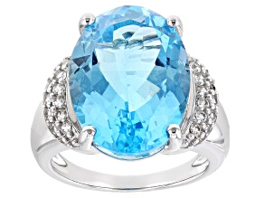 Blue Topaz Rhodium Over Sterling Silver Ring 14.12ctw