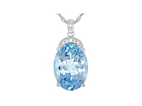 Blue Topaz Rhodium Over Silver Pendant With Chain 13.85ctw