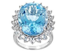 Blue Topaz Rhodium Over Sterling Silver Ring 21.23ctw