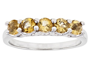 Yellow Citrine Rhodium Over Sterling Silver Ring  0.68ctw