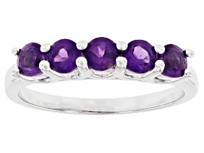 Purple African Amethyst Rhodium Over Sterling Silver Ring 0.68ctw