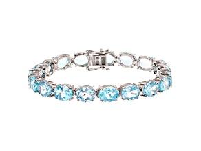 Blue Topaz Rhodium Over Sterling Silver Tennis Bracelet 34.72ctw