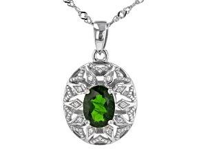 Green Chrome Diopside Rhodium Over Sterling Silver Pendant With Chain. 1.23ctw