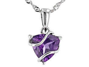 Trillion Amethyst Rhodium Over Sterling Silver Pendant With Chain 2.08ct