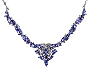 Blue Tanzanite Rhodium Over Sterling Silver Necklace 4.62ctw