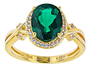 Green Lab Emerald With Round Lab White Sapphire 18K Yellow Gold Over Sterling Silver Ring 2.24ctw.
