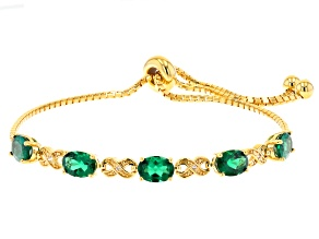 Green Lab Created Emerald 18k Yellow Gold Over Sterling Silver Solo Bracelet 3.09ctw