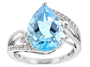 Blue Topaz Rhodium Over Sterling Silver Ring 4.83ctw