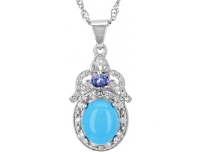 Blue Sleeping Beauty Turquoise Rhodium Over Sterling Silver Pendant With Chain .45ctw
