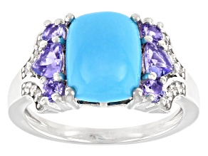 Sleeping Beauty Turquoise Rhodium Over Sterling Silver Ring .70ctw