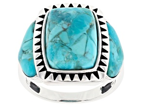 Blue Turquoise Oxidized Sterling Silver Ring