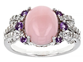 Pink Opal Rhodium Over Sterling Silver Ring 0.59ctw