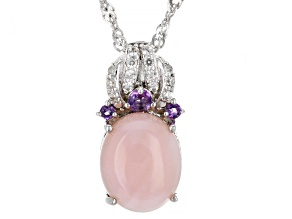 Pink Opal Rhodium Over Sterling Silver Pendant With Chain