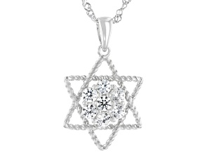 White Lab Created Sapphire Rhodium Over Sterling Silver Star Of David Pendant With Chain .71ctw