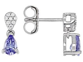 Blue Tanzanite Rhodium Over Sterling Silver Dangle Earrings .81ctw