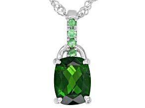 Cushion Chrome Diopside With Round Tsavorite Rhodium Over Sterling Silver Pendant Chain 1.35ctw