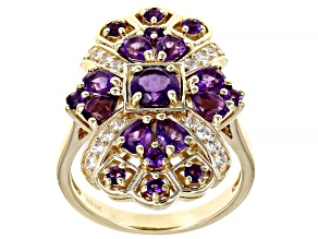 Purple Amethyst 18k Yellow Gold Over Sterling Silver Ring 1.95ctw