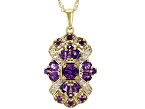 Purple Amethyst 18k Yellow Gold Over Sterling Silver Pendant With Chain 1.95ctw