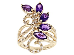 Purple African Amethyst With Round Lab White Sapphire 18k Yellow Gold Over Silver Ring 2.43ctw
