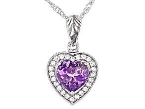 Purple Amethyst Rhodium Over Sterling Silver Pendant With Chain 1.64ctw
