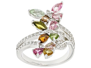 Multi Tourmaline Rhodium Over Sterling Silver Ring. 2.80ctw