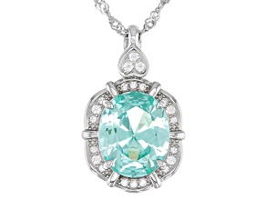Green Lab Created Spinel Rhodium Over Silver Pendant Chain 3.38ctw