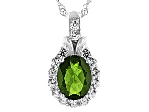 Green Chrome Diopside & White Zircon Rhodium Over Silver Pendant With Chain 2.14ctw