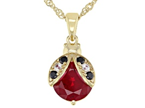 Red Lab Created Ruby 18k Yellow Gold Over Sterling Silver Pendant With Chain 4.82ctw