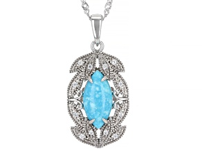 """Blue Turquoise & White Zircon Rhodium Over Silver Pendant With 18"""" Chain .05ctw"""