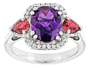 Purple Amethyst Rhodium Over Sterling Silver Ring 2.62ctw