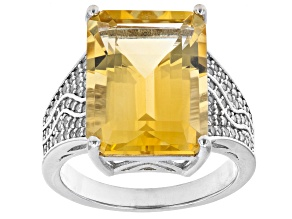 Yellow Citrine Rhodium Over Sterling Silver Ring 10.51ctw