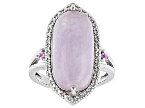 Pink Kunzite With Lab Created Pink Sapphire Rhodium Over Sterling Silver Ring 0.04ctw